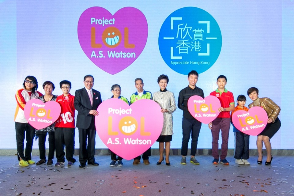 林鄭月娥,胡兆康及屈臣氏集團董事總經理黎啟明為計劃主持啓動儀式