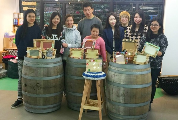 "Watson's Wine partnered with St. James' Settlement in an ""UPCYCLING"" activity"